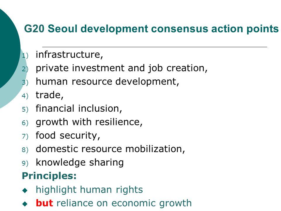 G20 Seoul development consensus action points