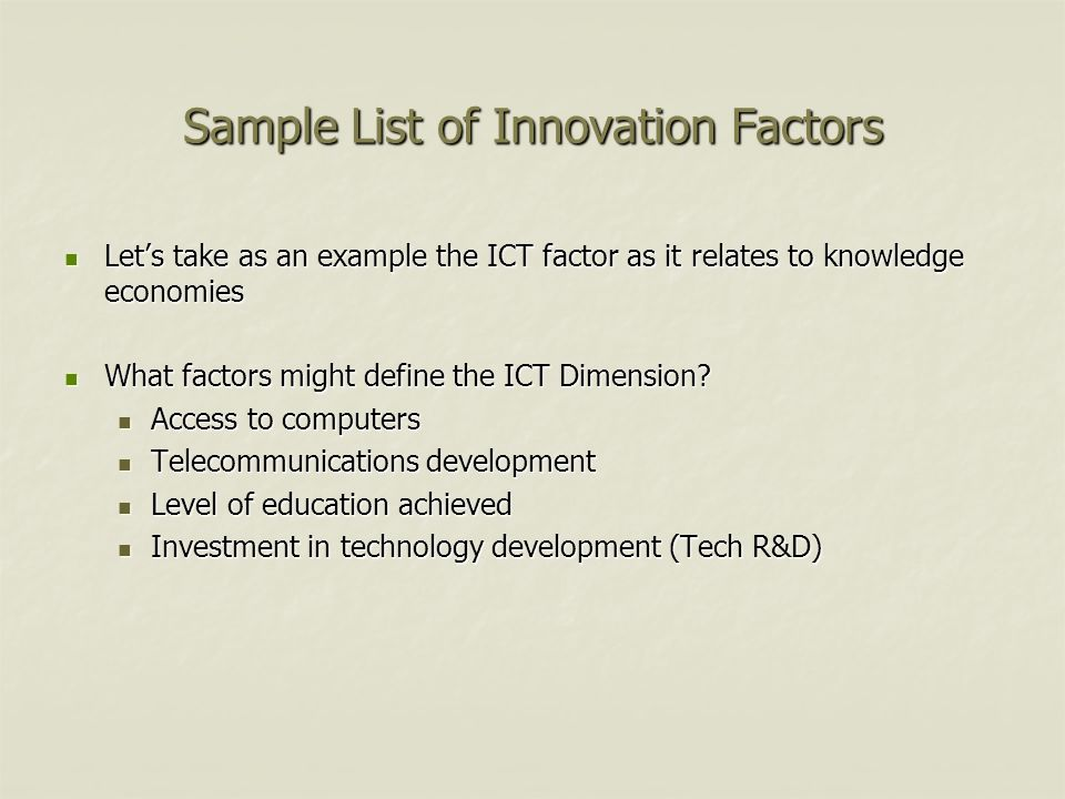 Sample List of Innovation Factors