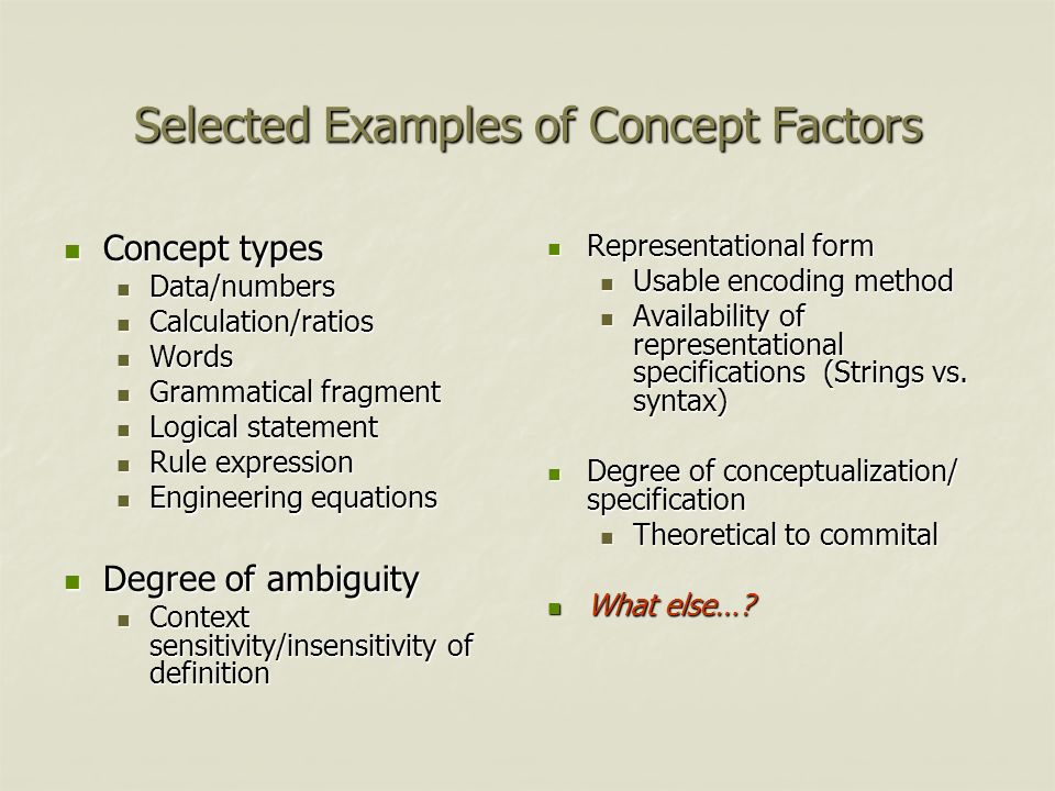 Selected Examples of Concept Factors