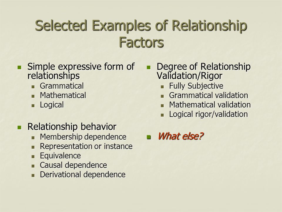 Selected Examples of Relationship Factors