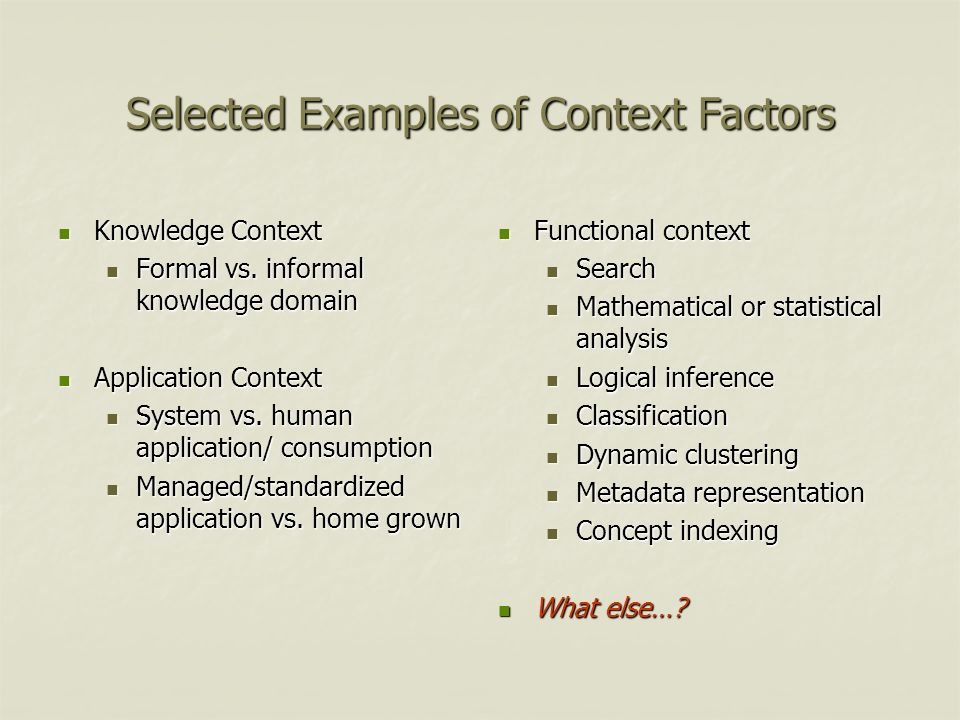 Selected Examples of Context Factors