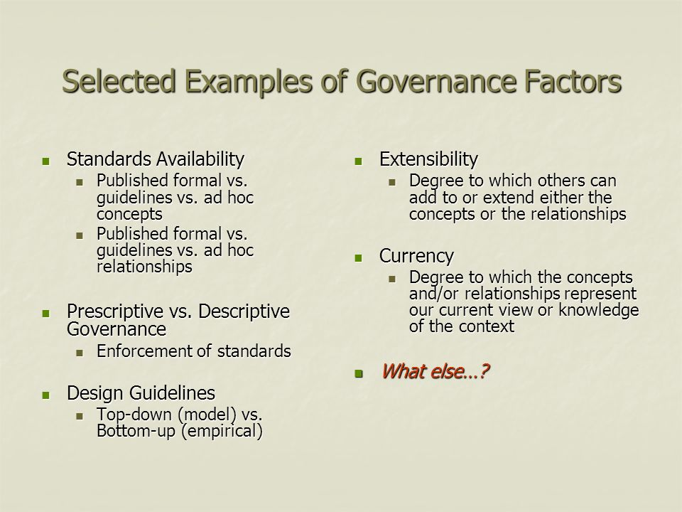 Selected Examples of Governance Factors