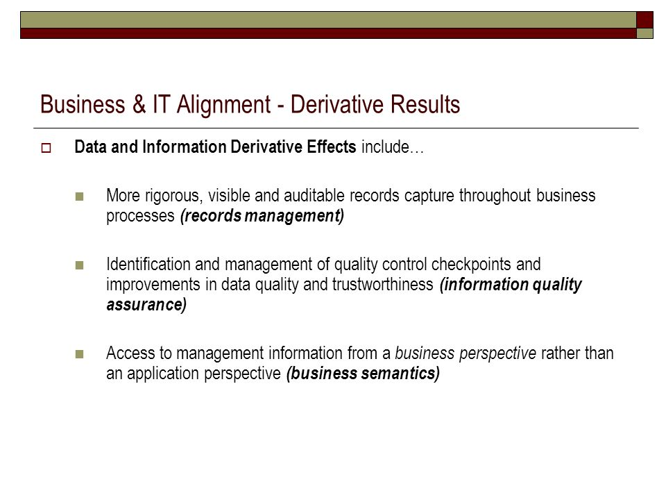 Business & IT Alignment - Derivative Results