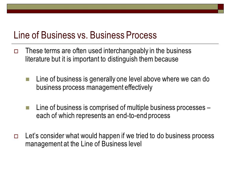 Line of Business vs. Business Process