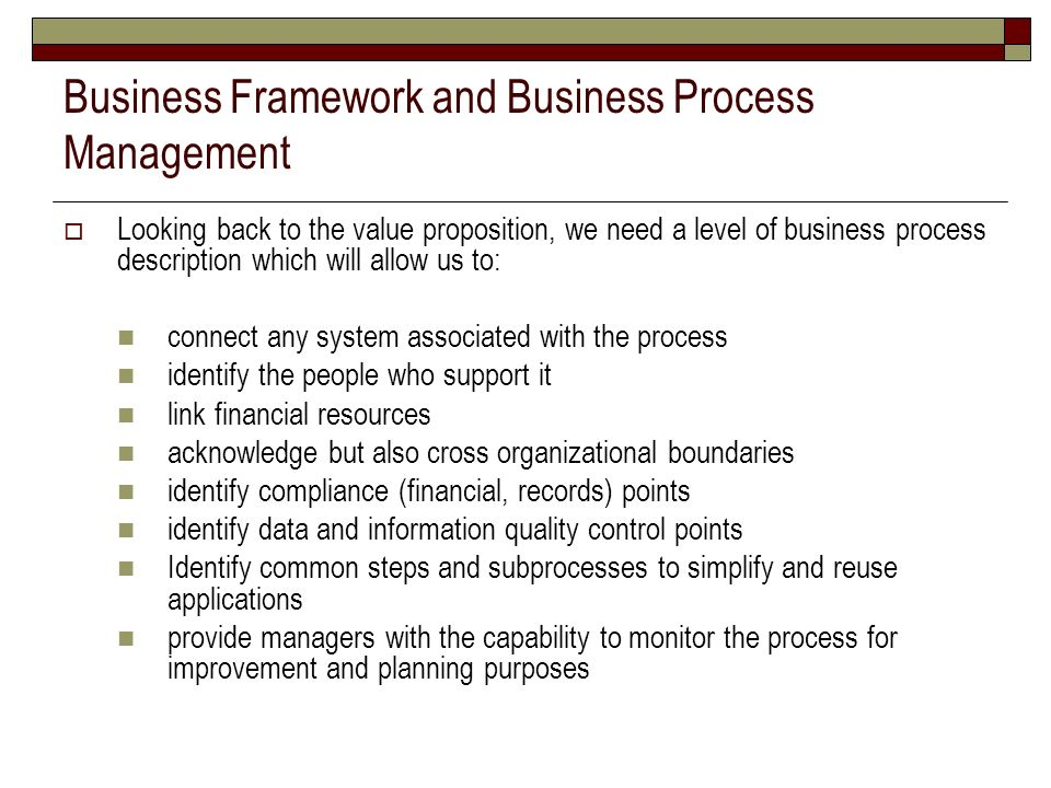 Business Framework and Business Process Management