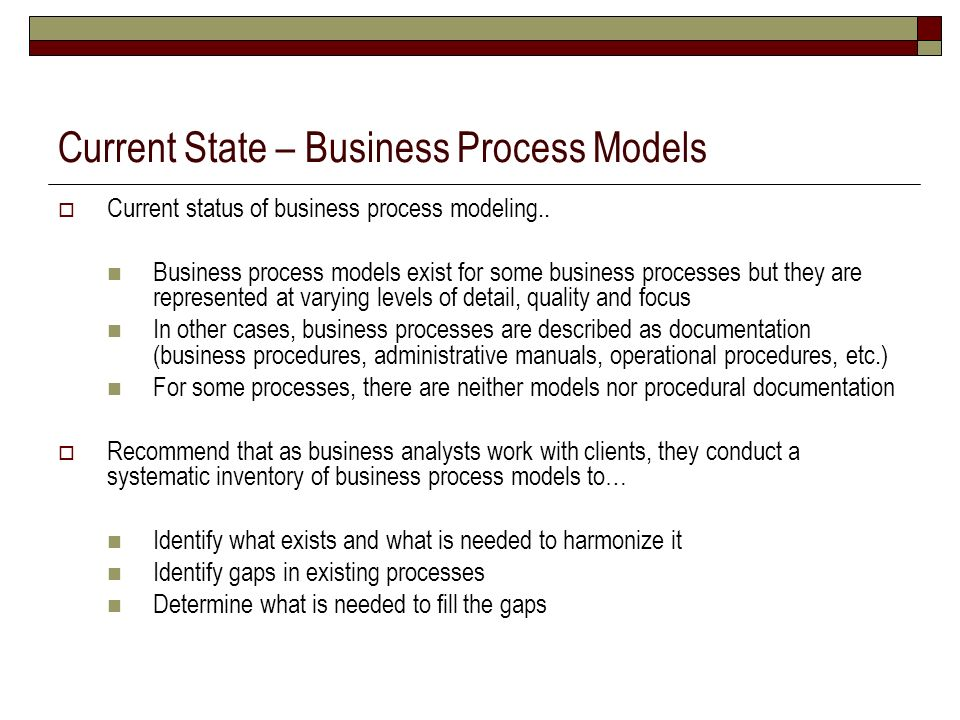 Current State – Business Process Models