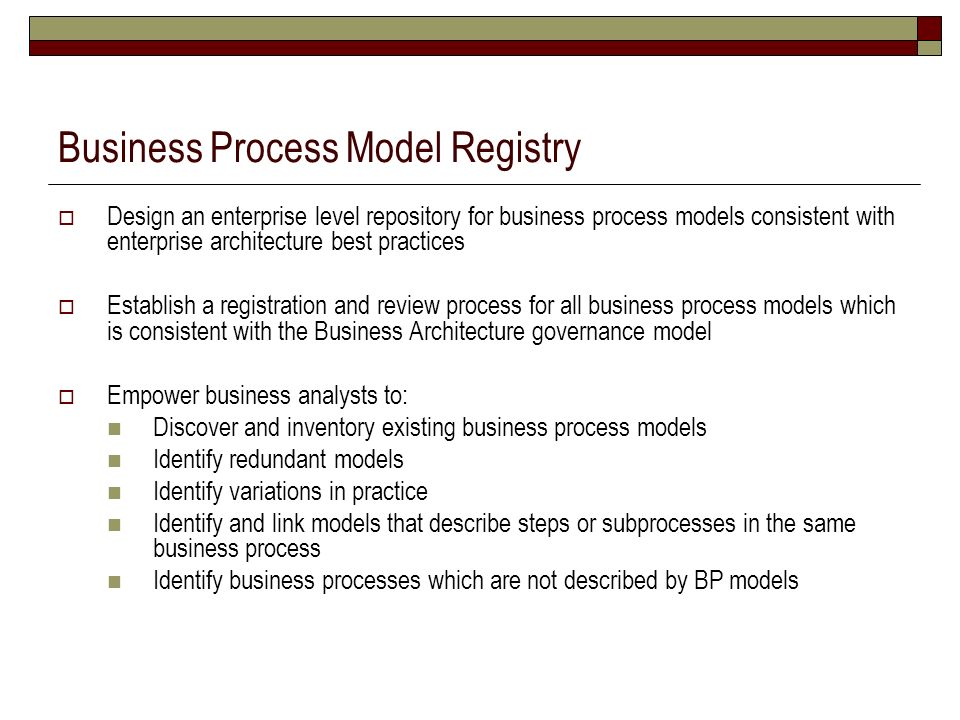 Business Process Model Registry