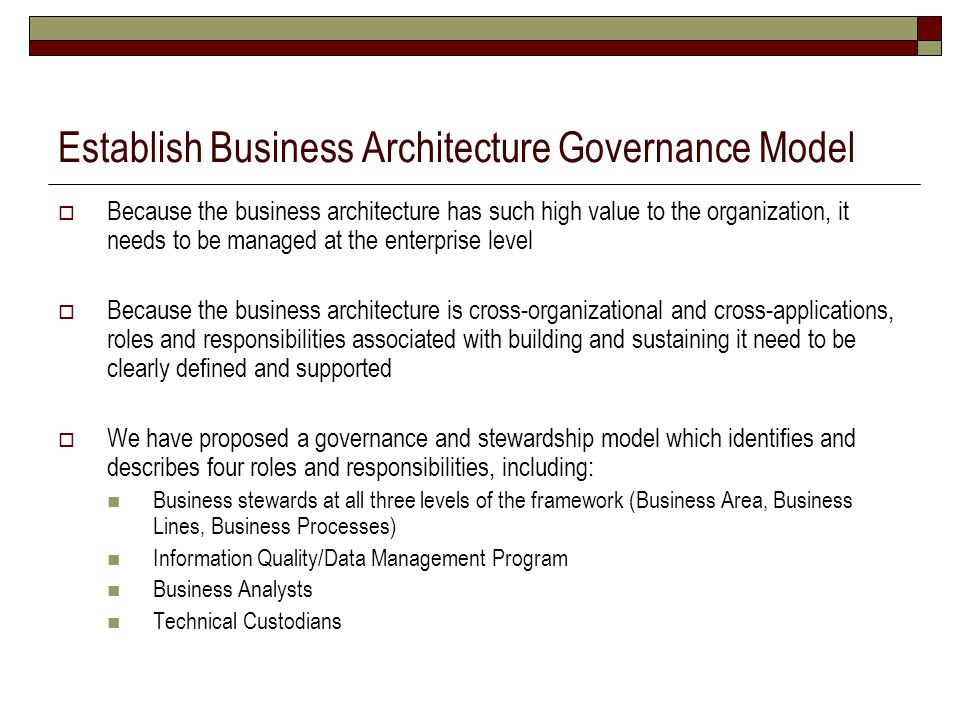 Establish Business Architecture Governance Model