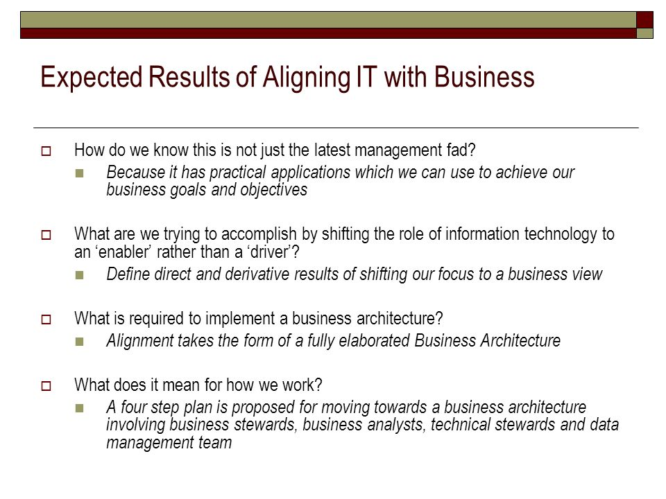 Expected Results of Aligning IT with Business