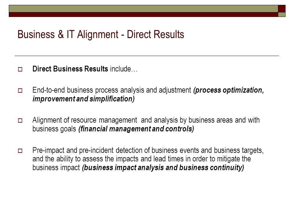 Business & IT Alignment - Direct Results