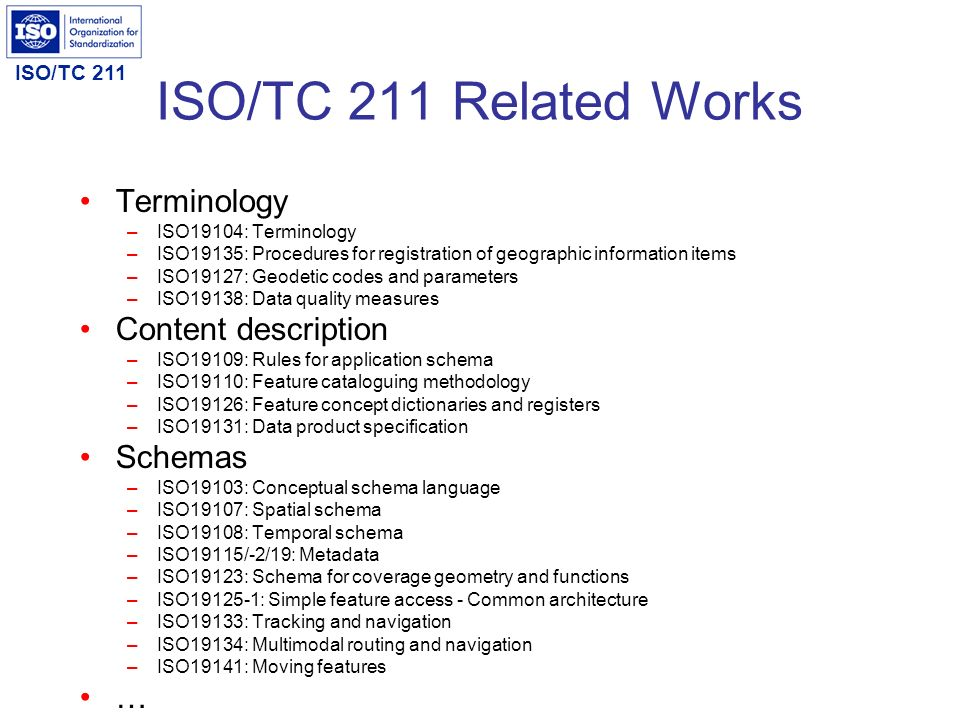 ISO/TC 211 Related Works Terminology Content description Schemas …