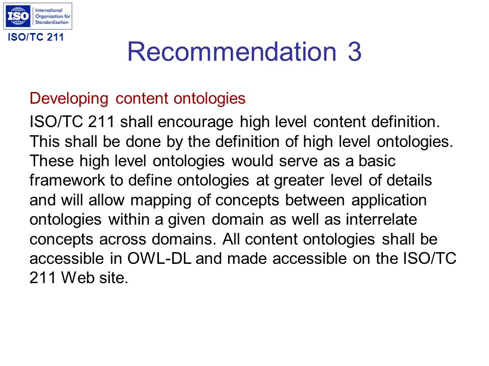 Recommendation 3 Developing content ontologies