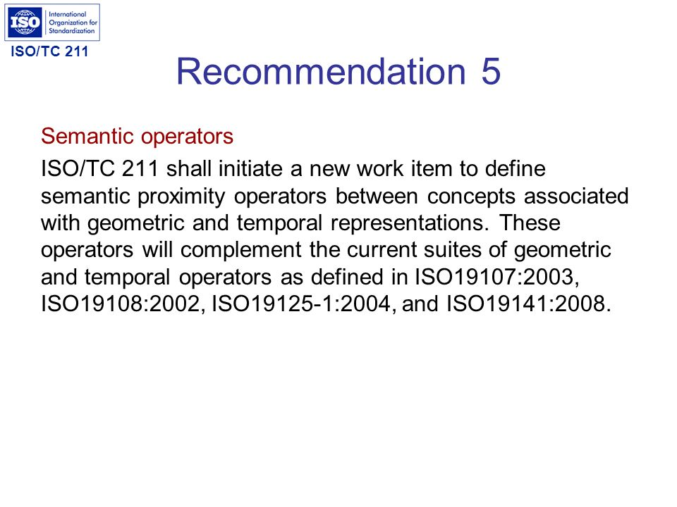Recommendation 5 Semantic operators