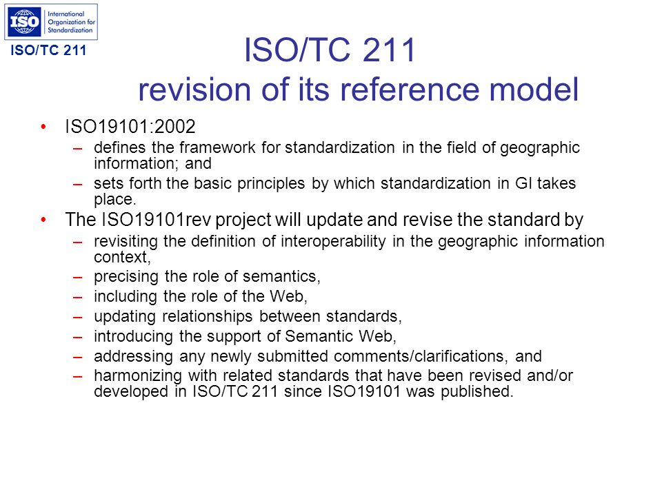 ISO/TC 211 revision of its reference model