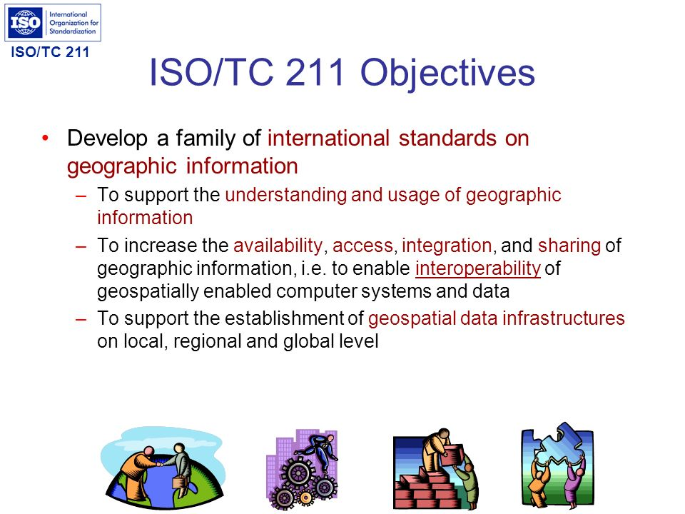 ISO/TC 211 Objectives Develop a family of international standards on geographic information.