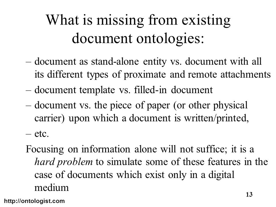 What is missing from existing document ontologies: