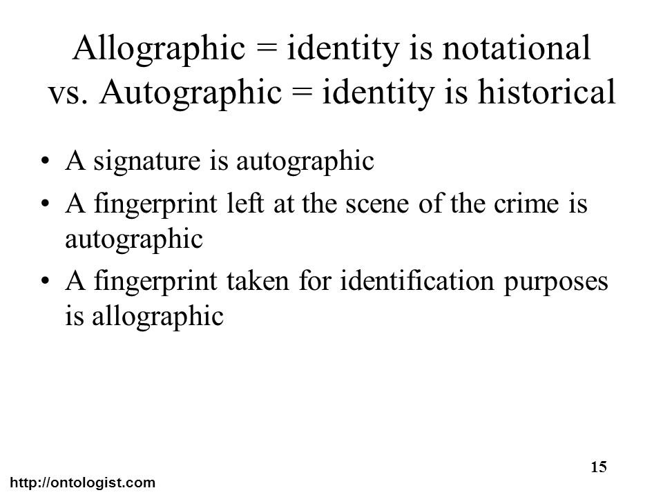 Allographic = identity is notational vs