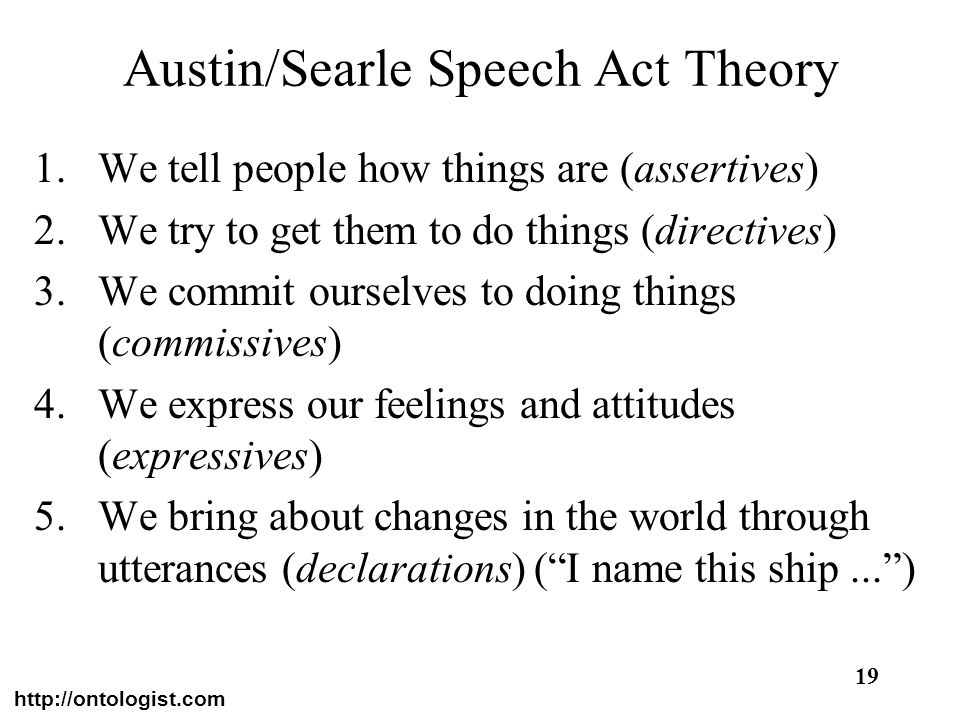 Austin/Searle Speech Act Theory