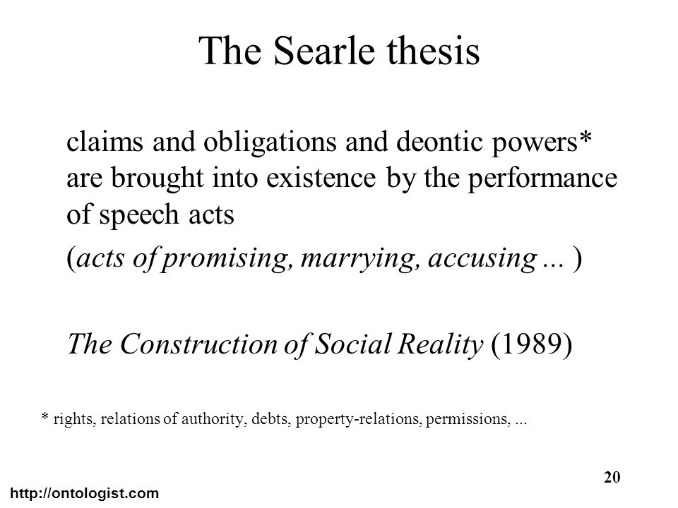 The Searle thesisclaims and obligations and deontic powers* are brought into existence by the performance of speech acts.