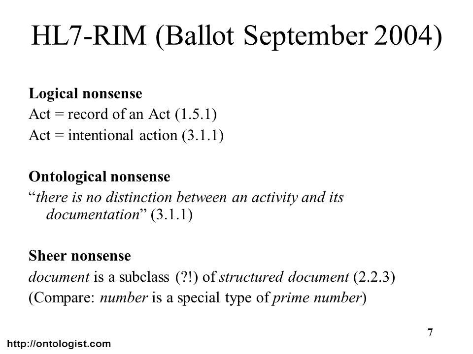 HL7-RIM (Ballot September 2004)