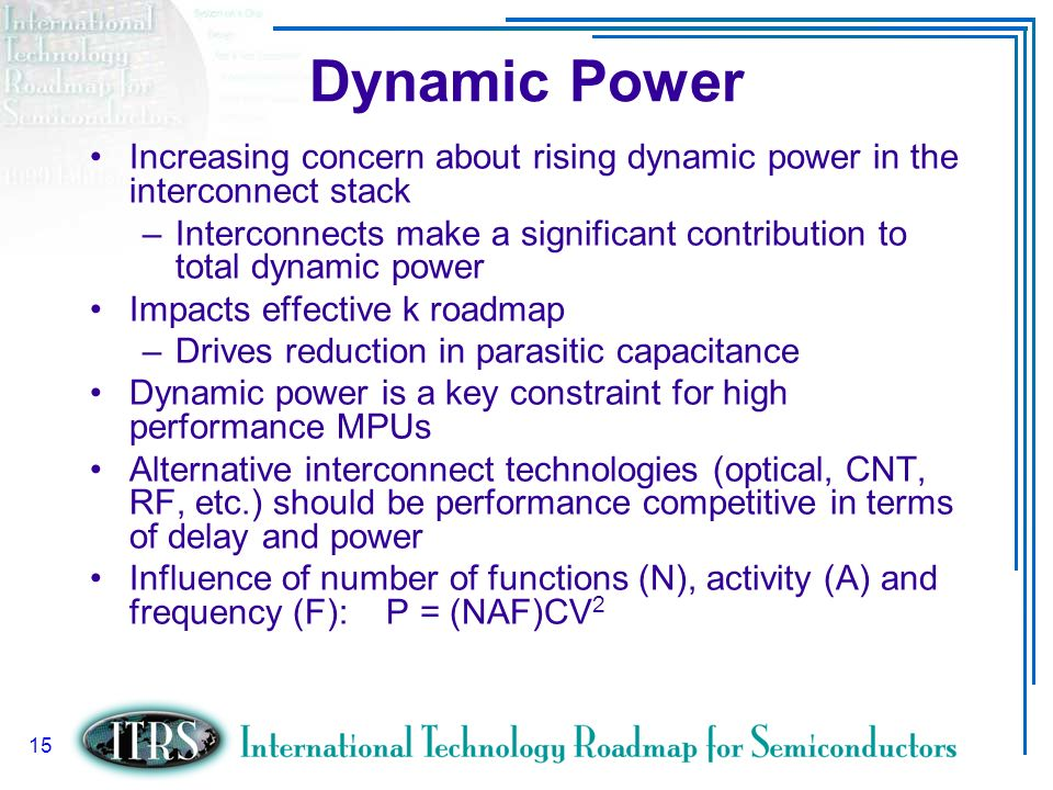 Dynamic Power Increasing concern about rising dynamic power in the interconnect stack.