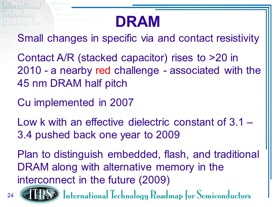 DRAM Small changes in specific via and contact resistivity