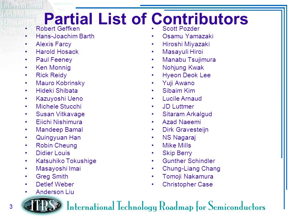 Partial List of Contributors