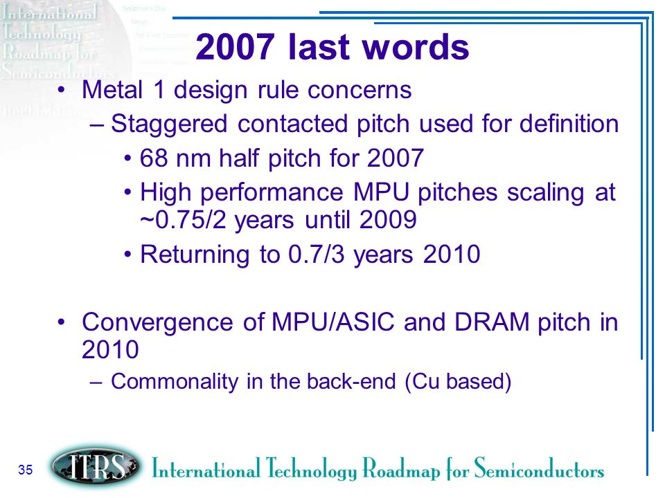 2007 last words Metal 1 design rule concerns