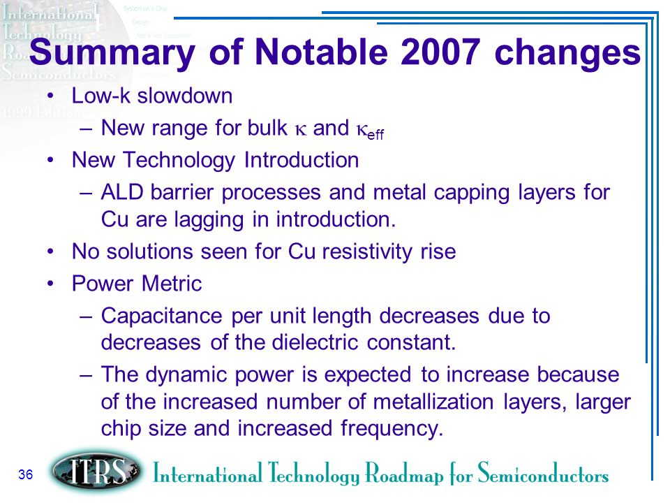 Summary of Notable 2007 changes
