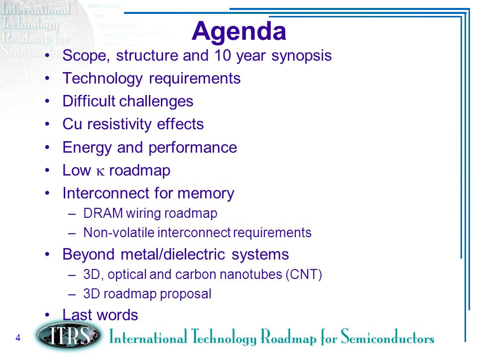 Agenda Scope, structure and 10 year synopsis Technology requirements