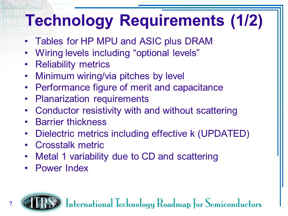 Technology Requirements (1/2)