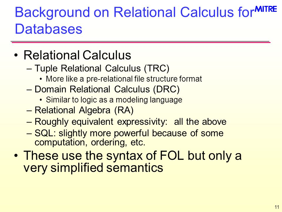 Background on Relational Calculus for Databases