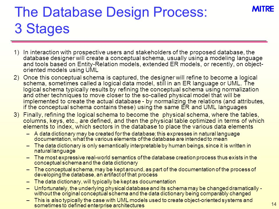 The Database Design Process: 3 Stages