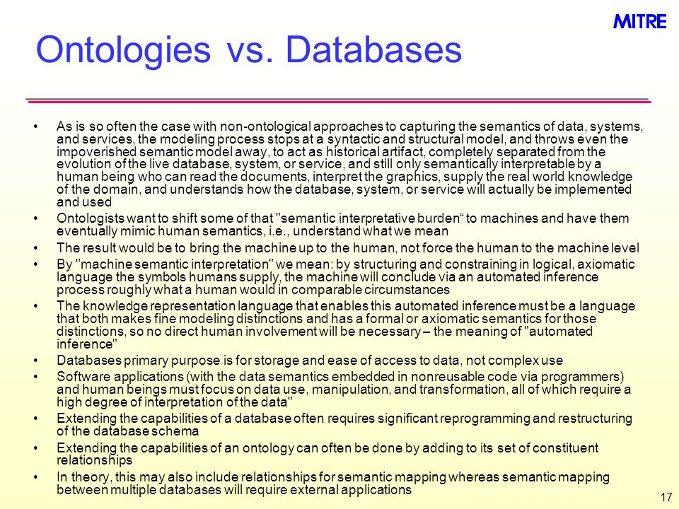 Ontologies vs. Databases