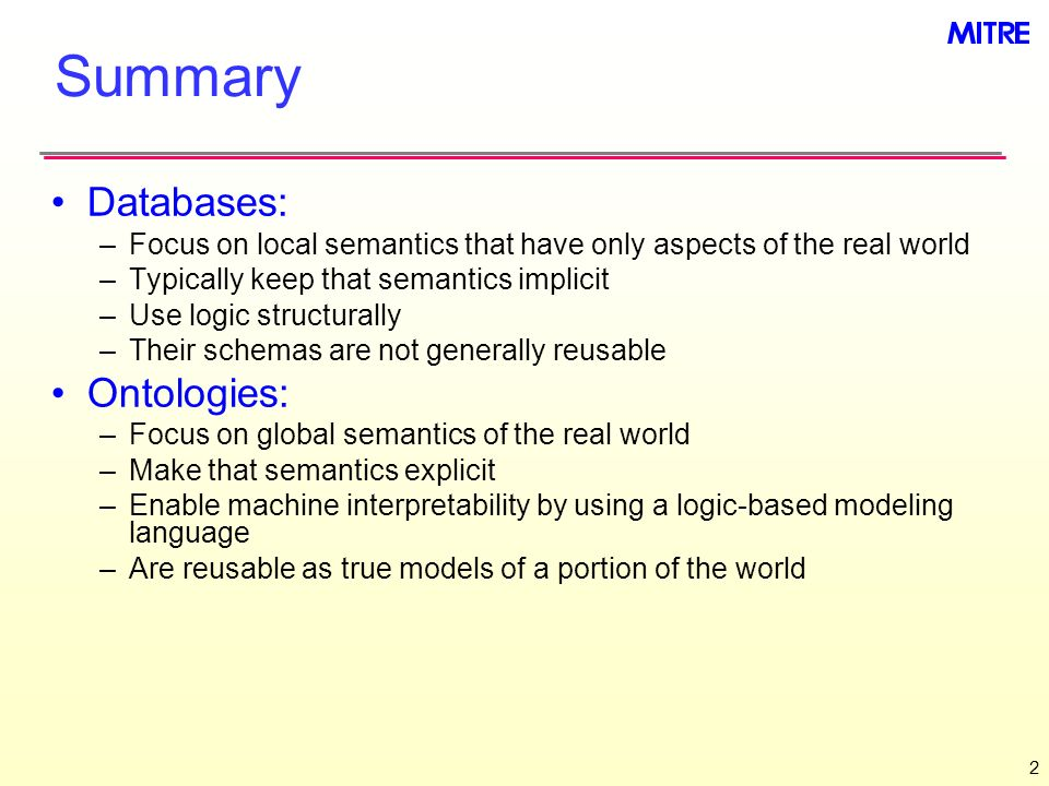 Summary Databases: Ontologies: