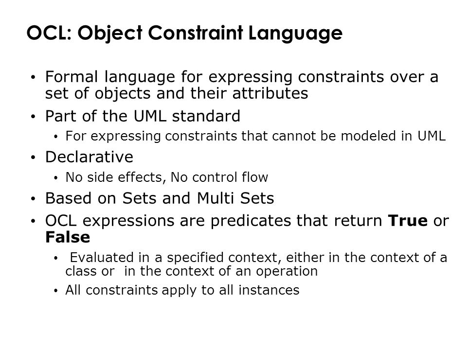 OCL: Object Constraint Language