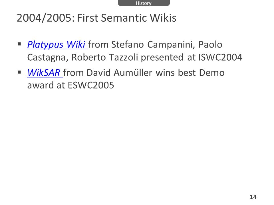 2004/2005: First Semantic Wikis