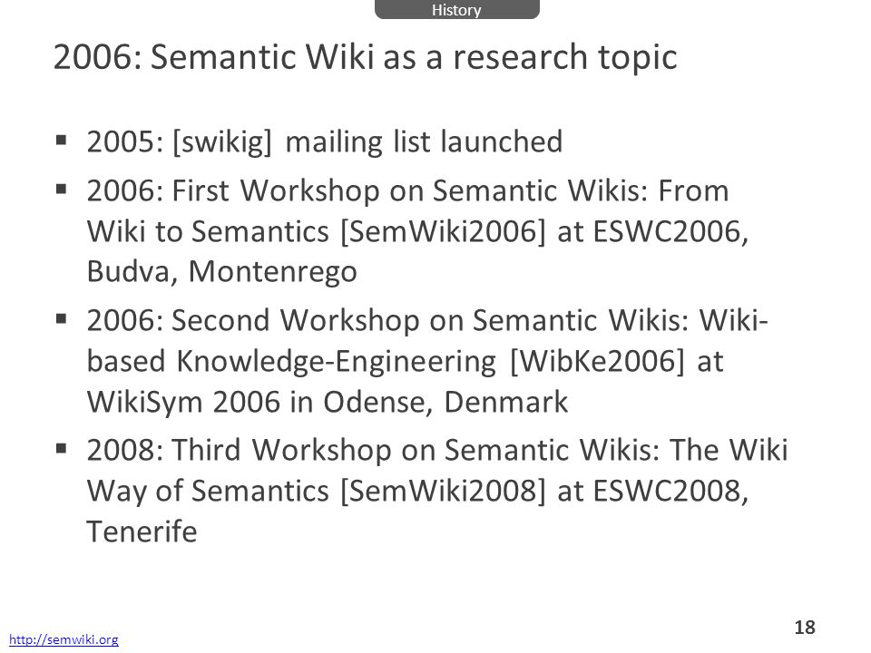 2006: Semantic Wiki as a research topic