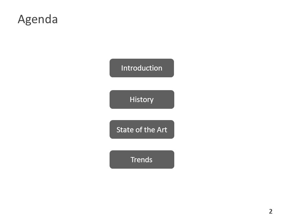 Agenda Introduction History State of the Art Trends