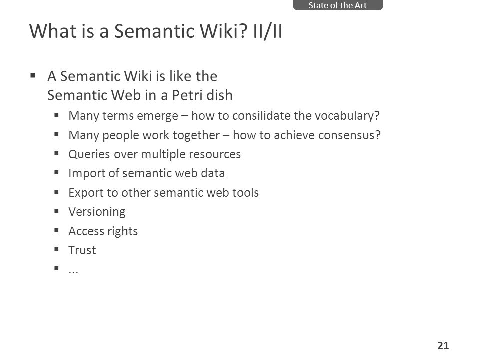 What is a Semantic Wiki II/II