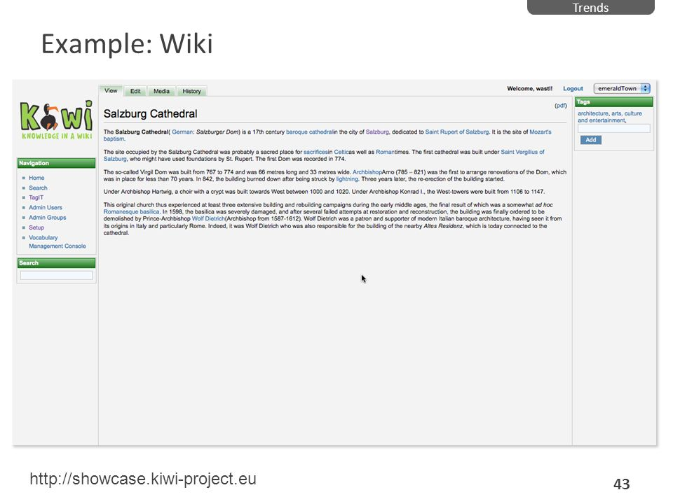 Trends Example: Wiki http://showcase.kiwi-project.eu