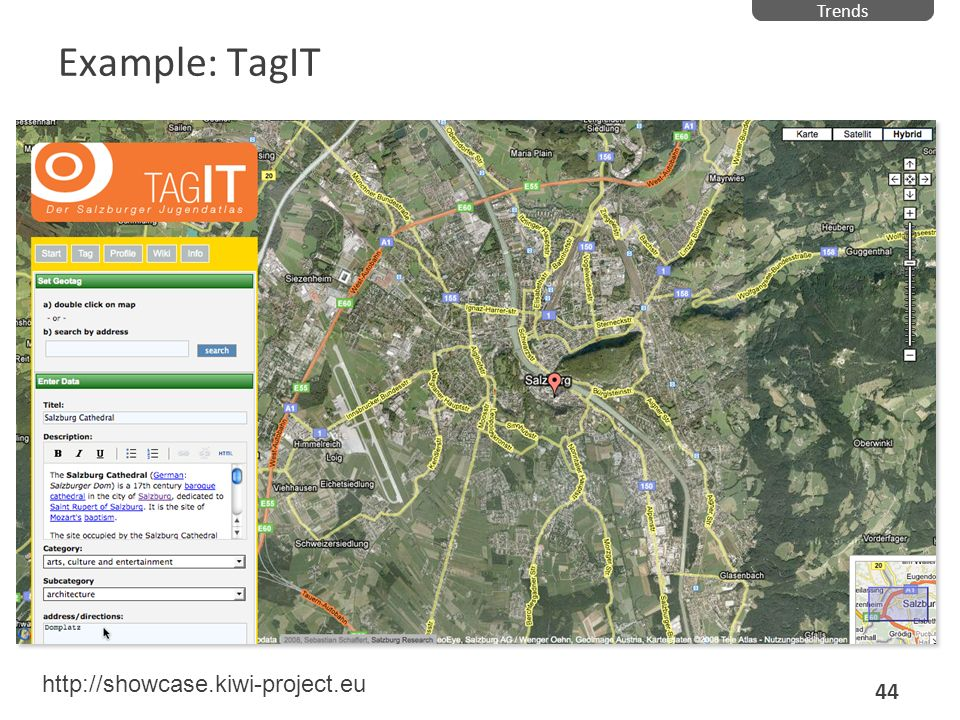 Trends Example: TagIT http://showcase.kiwi-project.eu