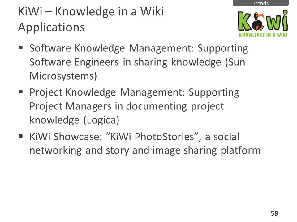 KiWi – Knowledge in a Wiki Applications