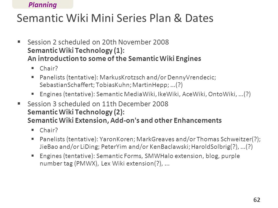 Semantic Wiki Mini Series Plan & Dates