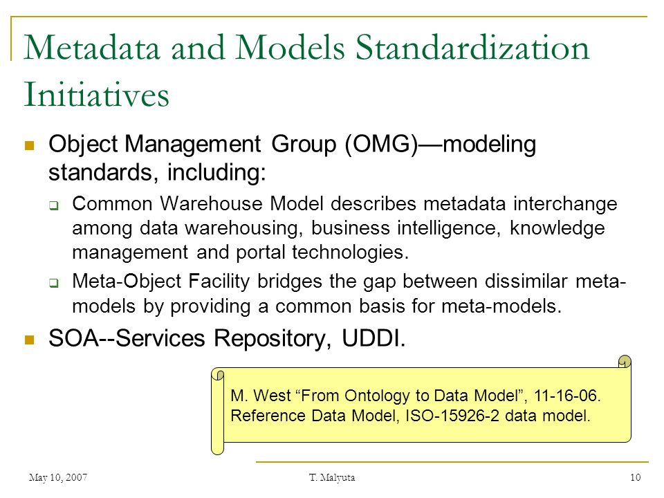 Metadata and Models Standardization Initiatives