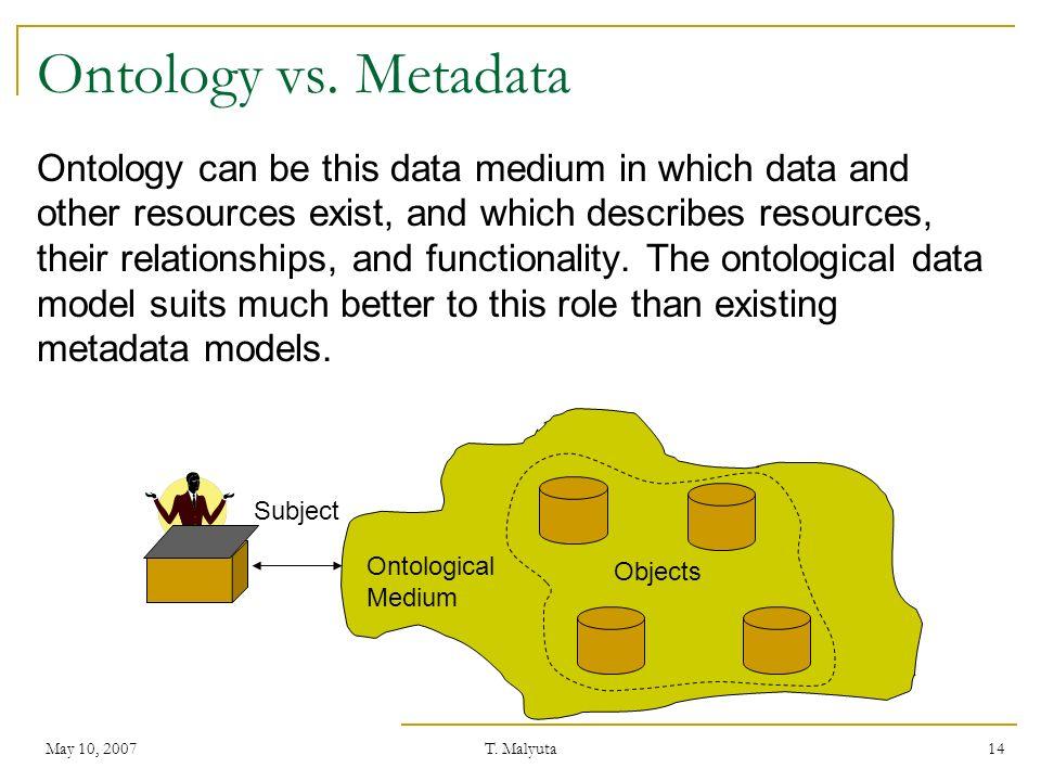 Ontology vs. Metadata