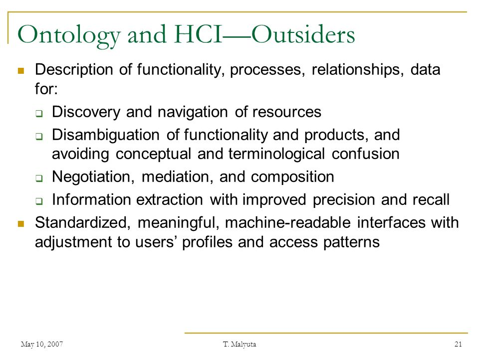 Ontology and HCI—Outsiders