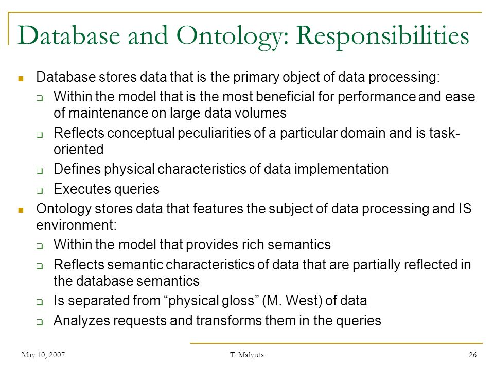 Database and Ontology: Responsibilities