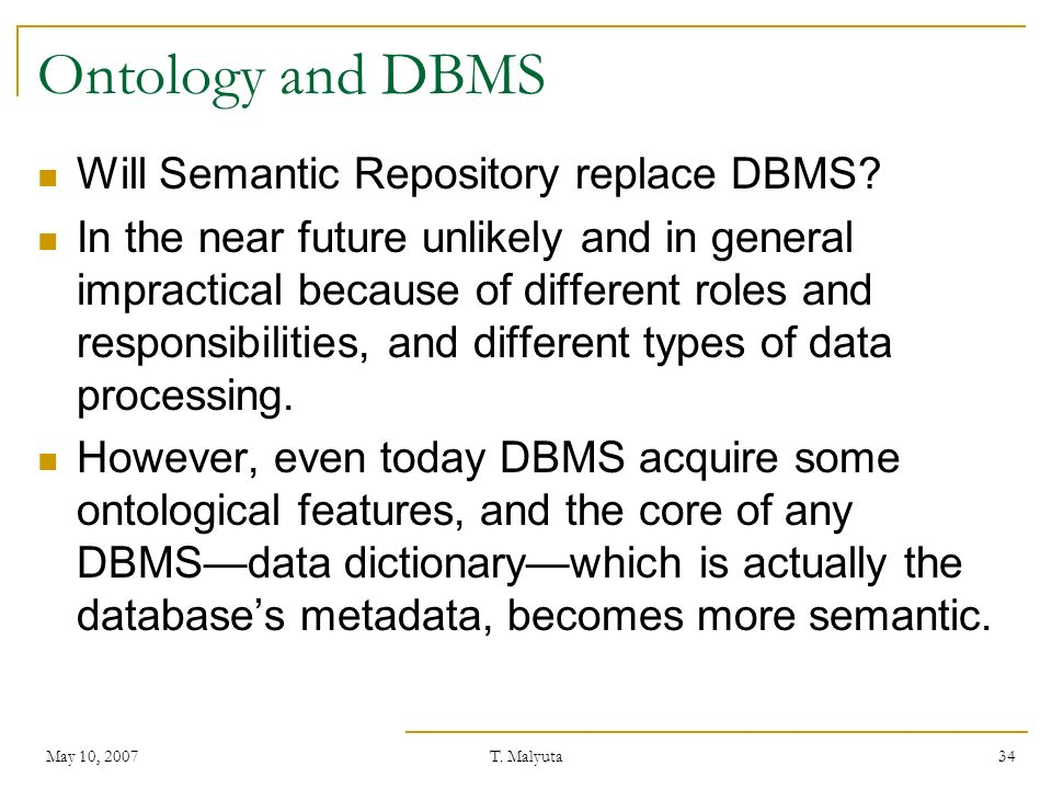 Ontology and DBMS Will Semantic Repository replace DBMS