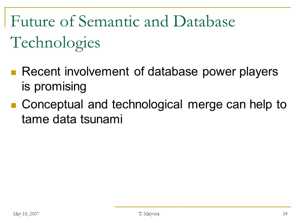 Future of Semantic and Database Technologies